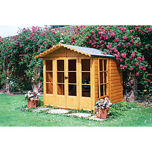 Shire 7 x 7 ft Kensington Double Door Summer House with Opening Side Windows