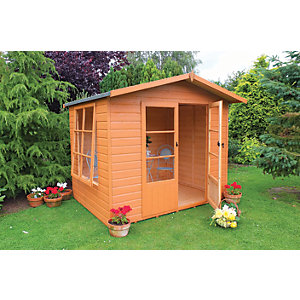 Shire 8 x 6 ft Winton Apex Double Door Summerhouse with Large Side Window