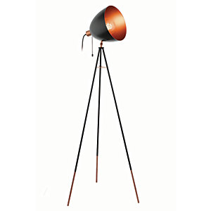Eglo Chester Tripod Single Light Floor Lamp Black & Copper - 60W E27