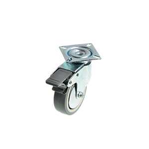 Wickes Heavy Duty Castor Wheel Swivel Plate with Brakes - 75mm Pack of 2