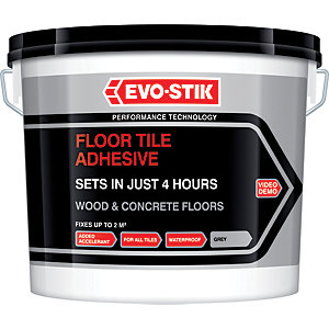 Evo-Stik Floor Tile Adhesive Fast Set for Wood and Concrete Floors Grey 5L