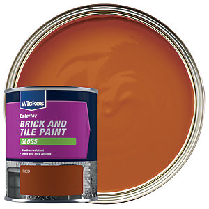 Wickes Brick & Tile Paint Gloss Red 750ml