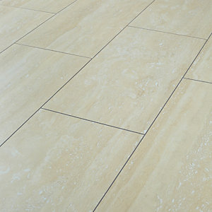 Wickes Travertine Tile Effect Laminate Flooring - 2.5m2 Pack
