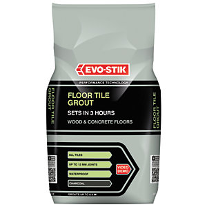 Evo-stik Fast Set Floor Tile Grout Charcoal 5kg
