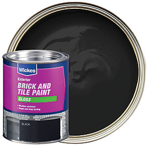 Wickes Exterior Brick & Tile Paint - Gloss Black 750ml