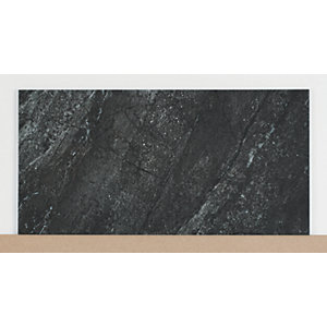 Wickes Amaro Charcoal Porcelain Tile 615 x 308mm Sample