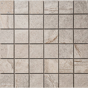 Wickes Aspen Silver Grey Mosaic Porcelain Tile 300 x 300mm Sample