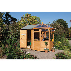 Rowlinson 7 x 10 ft Shiplap Timber Potting Store Shed with Greenhouse Addition