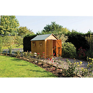 Rowlinson 8 x 6 ft Premier Apex Double Door Shed with Opening Windows