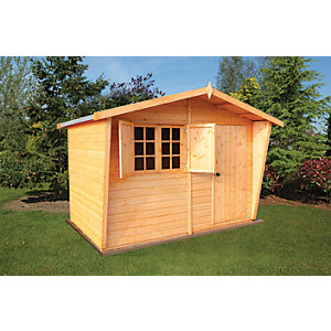 Shire 10 x 10 ft Large Chalet-Style Tongue & Groove Security Cabin with Shutters