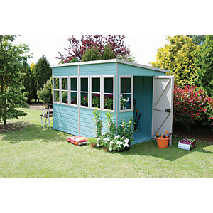 Shire 10 x 10 ft Large Timber Pent Potting Shed with Opening Windows