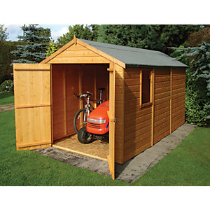Shire 12 x 6 ft Large Tongue & Groove Double Door Shed