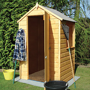 Shire 4 x 4 ft Shiplap Timber Garden Storage Shed Brown