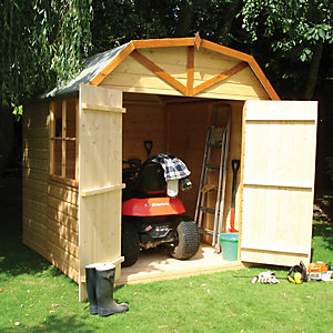 Shire 7 x 7 ft Barn-Style Curved Roof Double Door Garden Shed