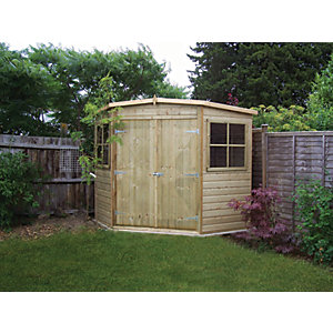 Shire 8 x 8 ft Shiplap Double Door Corner Shed
