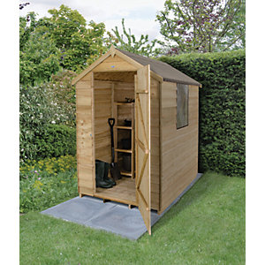 Wickes 4 x 6 ft Small Overlap Pressure Treated Apex Shed with Window Best Price, Cheapest Prices