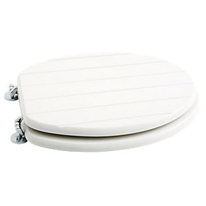 Wickes Tongue & Groove Soft Close Toilet Seat - White Wood