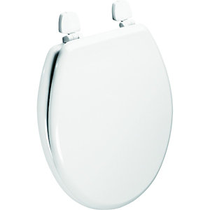 Wickes Wood Effect Standard Close Toilet Seat with Plastic Hinges - White