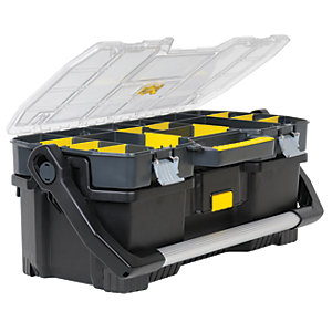 stanley 197514 toolbox with tool tote organiser 24in wickes co uk