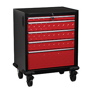 Hilka 5 Drawer Mobile Tool Trolley - Red & Black