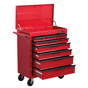 Hilka Heavy Duty 8 Drawer Tool Trolley with Lid - Red