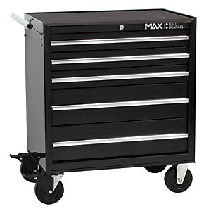 Hilka Professional 5 Drawer Rollaway Tool Cabinet - Black