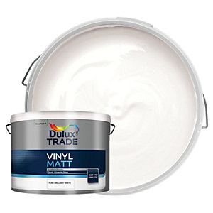 Dulux Trade Vinyl Matt Emulsion Paint - Pure Brilliant White 10L