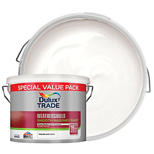 Dulux Trade Weathershield Smooth Masonry Paint - Brilliant White 7.5L