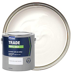 Wickes Trade Vinyl Silk Emulsion Paint - Pure Brilliant White 2.5L