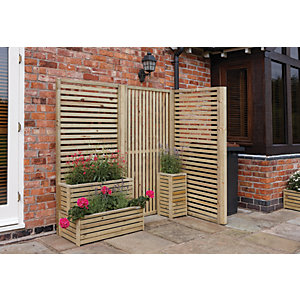 Rowlinson Vertical Timber Slat Screen - Pack of 2