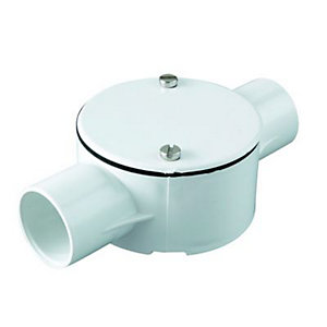 Wickes 2 Way Conduit Through Box - White 25mm