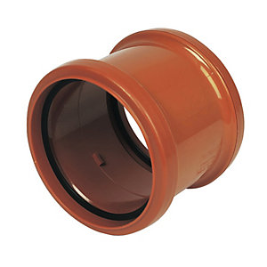 FloPlast D105 Underground Drainage Double Socket Coupling - Terracotta 110mm