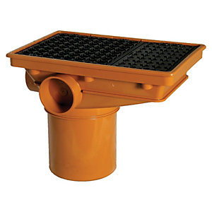 FloPlast D506 Rectangular Drain Inlet Hopper - Terracotta 110mm