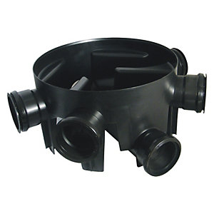 FloPlast D910 Chamber Base with 5 Fixed Inlets - Black 450mm Diameter