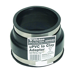 Wickes Clay to Plastic PVCu Drain Adaptor - Black 110mm