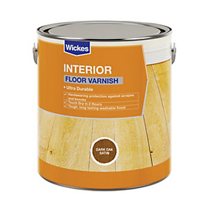 Wickes Floor Varnish - Dark Oak Satin 2.5L