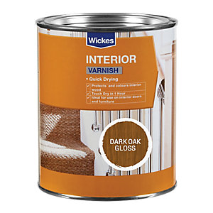 Wickes Quick Drying Interior Varnish - Dark Oak Gloss 750ml