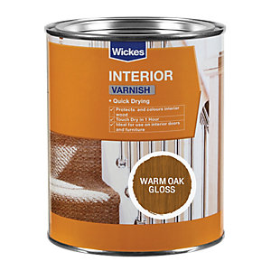 Wickes Quick Drying Interior Varnish - Warm Oak Gloss 750ml