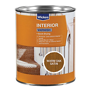 Wickes Quick Drying Interior Varnish - Warm Oak Satin 750ml