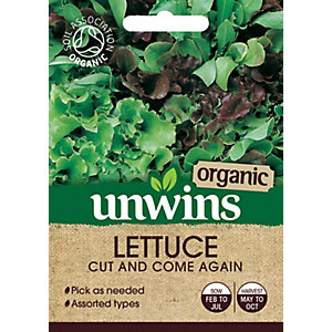 Unwins Organic Cut n Come Again Lettuce Seeds