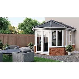 Euramax Victorian V6 Solid Roof Dwarf Wall Conservatory - 12 x 13 ft