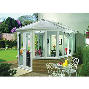 Wickes Victorian Dwarf Wall White Conservatory - 10 x 11 ft