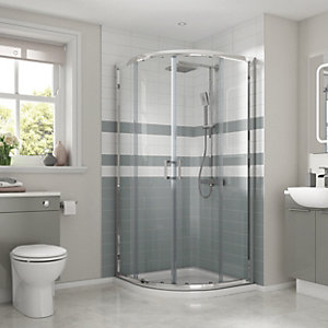 Vieste Bathroom Suite - Toilet, Basin, Quadrant Shower Enclosure & Shower Tray