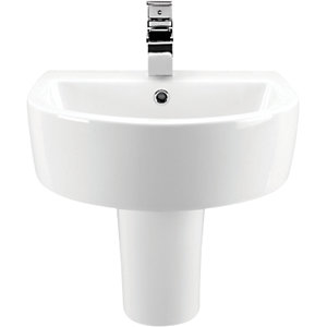 Wickes Style Ceramic Wall Hung Basin with Semi Pedestal - 500mm