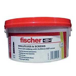 Fischer Wall Plugs Red 6mm Tub 500 Pack