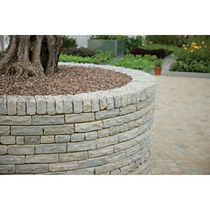 Marshalls Natural Stone Textured Tumbled Walling Pack - Silver Birch 220 x 100 x 65mm 5m2