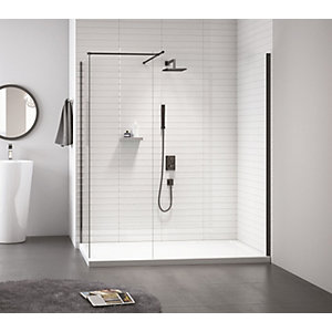 Nexa By Merlyn 8mm Frameless Black Showerwall Only - 800mm