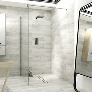 Wickes 800mm Single Fix Frameless Wet Room Shower Screen