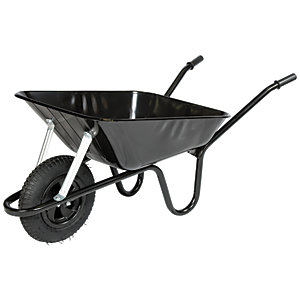 Walsall Barrow in a Box Black Builders Wheelbarrow with Pneumatic Wheel 85L