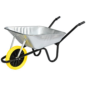 Walsall Barrow in a Box Galvanised Builders Wheeelbarrow with Puncture Proof Wheel 85L